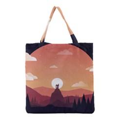 Design Art Hill Hut Landscape Grocery Tote Bag