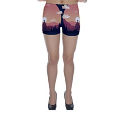 Design Art Hill Hut Landscape Skinny Shorts