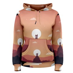 Design Art Hill Hut Landscape Women s Pullover Hoodie
