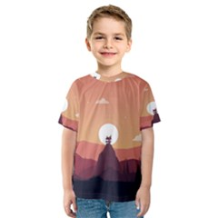 Design Art Hill Hut Landscape Kids  Sport Mesh Tee