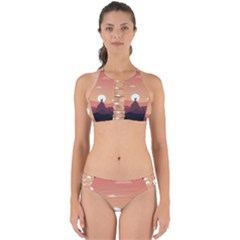 Design Art Hill Hut Landscape Perfectly Cut Out Bikini Set