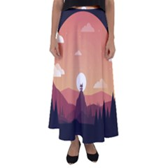 Design Art Hill Hut Landscape Flared Maxi Skirt