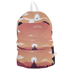 Design Art Hill Hut Landscape Foldable Lightweight Backpack