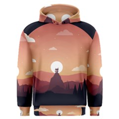 Design Art Hill Hut Landscape Men s Overhead Hoodie by Nexatart
