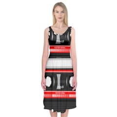 Compact Cassette Musicassette Mc Midi Sleeveless Dress