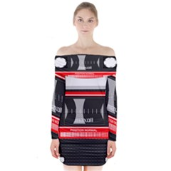 Compact Cassette Musicassette Mc Long Sleeve Off Shoulder Dress