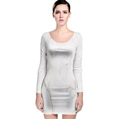 White Marble Tiles Rock Stone Statues Long Sleeve Bodycon Dress