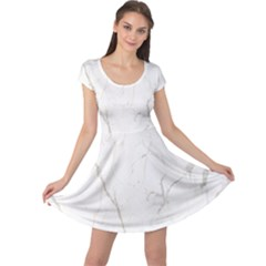 White Marble Tiles Rock Stone Statues Cap Sleeve Dress