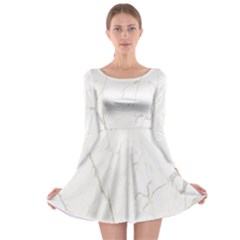White Marble Tiles Rock Stone Statues Long Sleeve Skater Dress