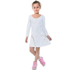 White Marble Tiles Rock Stone Statues Kids  Long Sleeve Velvet Dress
