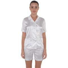 White Marble Tiles Rock Stone Statues Satin Short Sleeve Pyjamas Set
