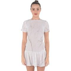 White Marble Tiles Rock Stone Statues Drop Hem Mini Chiffon Dress