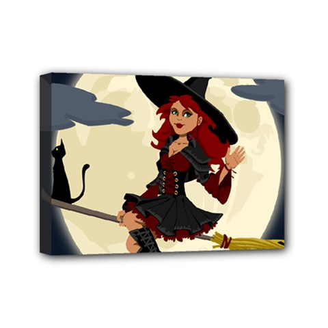 Witch Witchcraft Broomstick Broom Mini Canvas 7  X 5