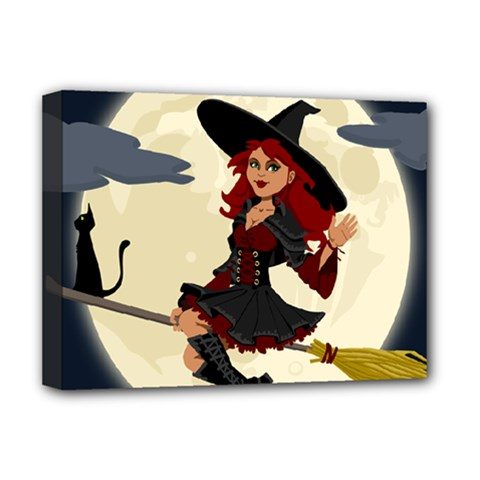 Witch Witchcraft Broomstick Broom Deluxe Canvas 16  X 12
