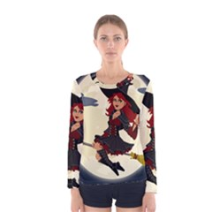 Witch Witchcraft Broomstick Broom Women s Long Sleeve Tee