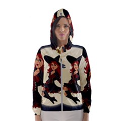 Witch Witchcraft Broomstick Broom Hooded Wind Breaker (women)
