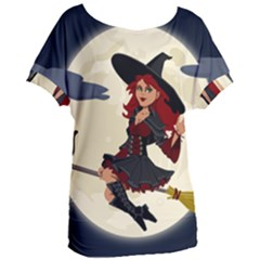 Witch Witchcraft Broomstick Broom Women s Oversized Tee by Nexatart