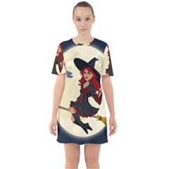 Witch Witchcraft Broomstick Broom Sixties Short Sleeve Mini Dress