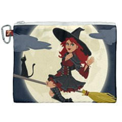 Witch Witchcraft Broomstick Broom Canvas Cosmetic Bag (xxl) by Nexatart