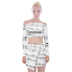 Abuse Background Monochrome My Bits Off Shoulder Top With Mini Skirt Set