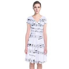 Abuse Background Monochrome My Bits Short Sleeve Front Wrap Dress