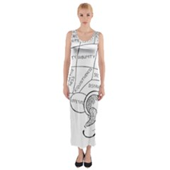 Brain Chart Diagram Face Fringe Fitted Maxi Dress