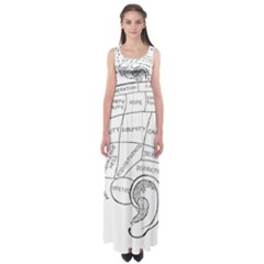 Brain Chart Diagram Face Fringe Empire Waist Maxi Dress