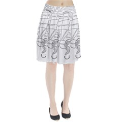 Brain Chart Diagram Face Fringe Pleated Skirt