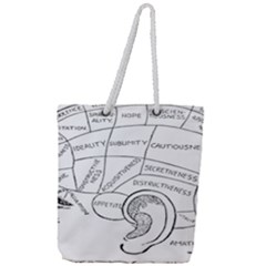 Brain Chart Diagram Face Fringe Full Print Rope Handle Tote (large)