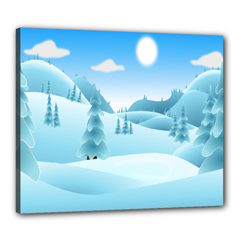 Landscape Winter Ice Cold Xmas Canvas 24  X 20