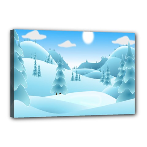 Landscape Winter Ice Cold Xmas Canvas 18  X 12