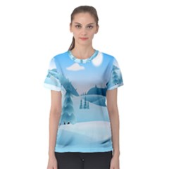 Landscape Winter Ice Cold Xmas Women s Sport Mesh Tee