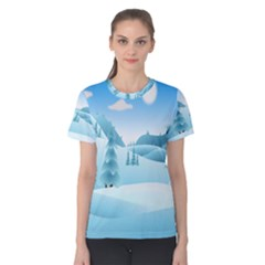 Landscape Winter Ice Cold Xmas Women s Cotton Tee
