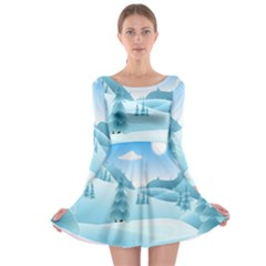 Landscape Winter Ice Cold Xmas Long Sleeve Skater Dress