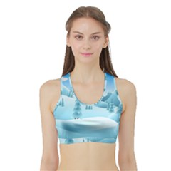 Landscape Winter Ice Cold Xmas Sports Bra With Border