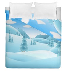 Landscape Winter Ice Cold Xmas Duvet Cover Double Side (queen Size)