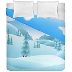 Landscape Winter Ice Cold Xmas Duvet Cover Double Side (california King Size)