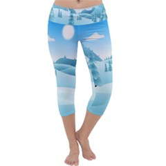 Landscape Winter Ice Cold Xmas Capri Yoga Leggings