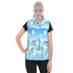 Landscape Winter Ice Cold Xmas Women s Button Up Vest