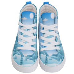 Landscape Winter Ice Cold Xmas Kid s Hi Top Skate Sneakers