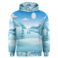 Landscape Winter Ice Cold Xmas Men s Overhead Hoodie