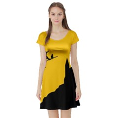 Castle Cat Evil Female Fictional Short Sleeve Skater Dress