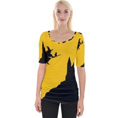 Castle Cat Evil Female Fictional Wide Neckline Tee