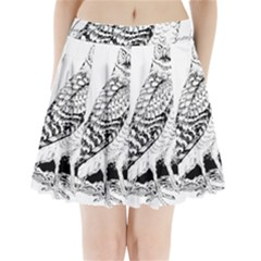 Animal Bird Forest Nature Owl Pleated Mini Skirt