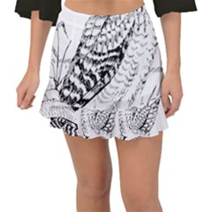 Animal Bird Forest Nature Owl Fishtail Mini Chiffon Skirt
