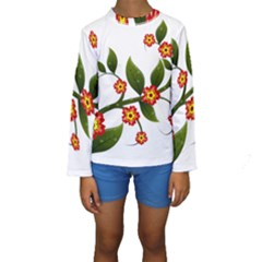Flower Branch Nature Leaves Plant Kids  Long Sleeve Swimwear