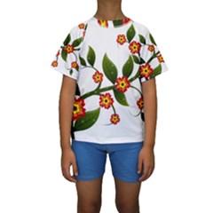 Flower Branch Nature Leaves Plant Kids  Short Sleeve Swimwear
