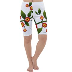 Flower Branch Nature Leaves Plant Cropped Leggings