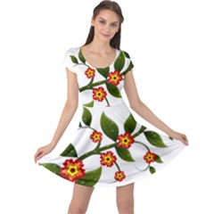 Flower Branch Nature Leaves Plant Cap Sleeve Dress