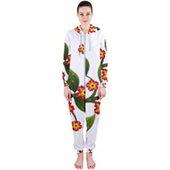Flower Branch Nature Leaves Plant Hooded Jumpsuit (ladies)